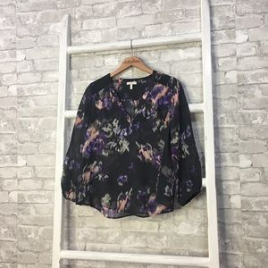 Joie Axcel Blouse Charcoal Long Sleeve Size XS